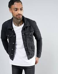 river island river island denim jacket with inside print men black