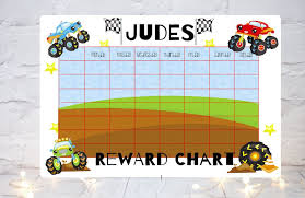 Personalised Reward Chart Monster Truck Boys Reward Chart