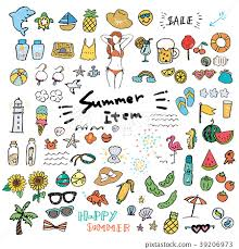 Summer Icons Summer Icons Hand Drawn Set Stock Illustration 39206973