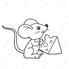 coloring page outline of cartoon little mouse with cheese coloring book for kids stock vector