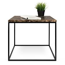 ... Side Table; Gleam Brown Marble Top + Black Metal Base Square Modern End  Table