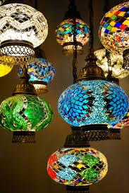 16 piece multi colour turkish chandelier up close