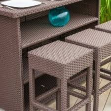 Outdoor Large Bar Table U0026 6 Bar Stools  Furniture Fetish Gold Outdoor Wicker Bar Furniture