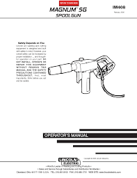 lincoln electric im magnum sg spool gun user manual pages
