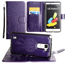 lg stylo 2 cases. embossed dream catcher design wallet case with detachable matching and wristlet, lg stylo 2 cases s