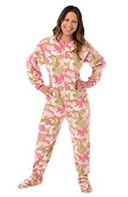 plus size footed pajamas amazon com big feet pjs pink camouflage fleece adult footed onesie
