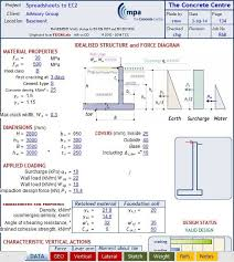 excel sheet to design basement wall