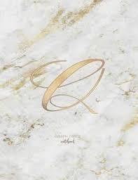 Graph Paper Notebook Marble Elegant Gold Monogram Letter Q