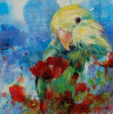 grace lin oil painting bird razi