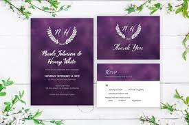 Purple Wedding Invitation Template Wedding Invites With Monogram Logo Printable Rsvp Thank You Invitation Suite Wedding Invitation Set