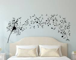dandelion wall decal bedroom music note wall decal dandelion wall art flower decals bedroom living room home decor interior design c109 on wall art bedroom stickers with high quality wall decals vinyl stickers by fabwalldecals on etsy