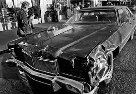 The 1974 blue Lincoln Continental Priscilla Ford used to kill 7 and injure  23 during the 1980 Thanksgiving massacre in Reno, Nevada. Ford, a diagnosed  paranoid schizophrenic, was later sentenced to death