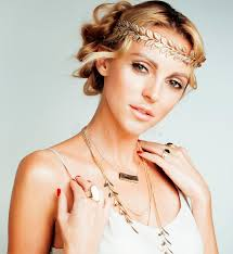 young blond woman dressed like ancient greek stock photo image of makeup beautiful