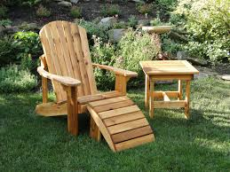 custom made adirondack chair with leg rest and side table