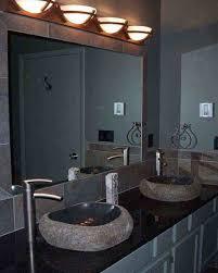 image top vanity lighting. Bathroom. Half Round Vanity Lights Above The Rectangle Mirror Combined With Gray Wooden Feat Image Top Lighting L
