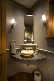 Bathroom: Corner Bathroom Vessel Sink With Stone Countertop And ...