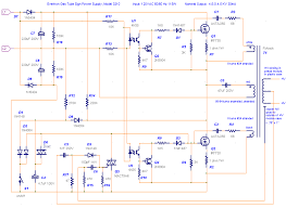 various schematics and diagrams the schematic of an inverter type unit for driving a neon sign it has a pair of power mosfets driving a flyback style high voltage transformer