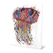 jellyfish wall art colorful wild print on metal wood jellyfish wall art