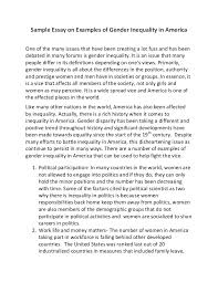 sample essay on examples of gender inequality in america