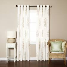tree embroidered faux linen nature fl semi sheer grommet curtain panels