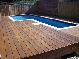 Wooden Pool Decks Architecture Sundeck Outdoor Design With Round Pool Feat Above