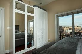 custom luxurious bedroom wardrobe closet with mirror cabinet doors