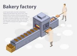 Bakery Factory Concept Banner Isometric Style Vector