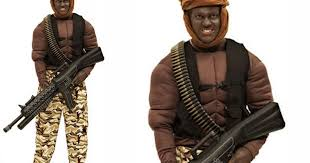 fancy dress company has a somali pirate costume to advertised with a model in blackface make up mirror