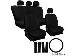 oxgord solid color 17 piece faux leather seat covers set airbag compatible 50