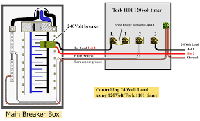 tork timers and manuals Tork Time Clock Wiring Diagram tork 120volt 1101 timer controlling 240volt circuit larger image see illustrations below for tork1101m and 1104m for more wiring diagrams Tork Time Clock Wiring Diagrams