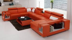 Orange Couch Ideas Furniture Black Leather Sectional Sofa
