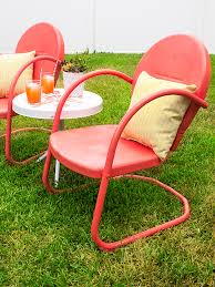 retro metal patio chair and table