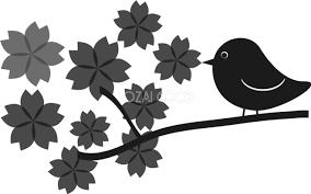 グレースケールのポップな桜と鳥の無料 白黒イラスト83147 素材good