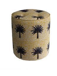 Vibrant modern African <b>print pouffe</b> with yellow palm tree <b>design</b> ...