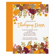 Thanksgiving Invites Autumn Leaves Thanksgiving Dinner Invite