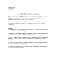 questions for a modest proposal honors satire 2013 2014 50 points ldquoa modest proposalrdquo in