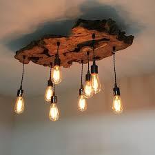 image of simple wood chandelier lighting