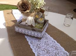 brown burlap and white lace table table runner on round wedding table with diy tray table centerpieces with lace decoration ideas