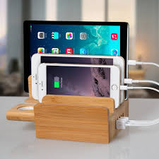 newest upgraded merit bamboo usb charging station with apple watch stand multi device desk organizer charging dock holder for all iphones ipads nexus