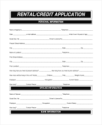 Rental Credit Application Free 6 Sample Apartment Rental Application Forms In Word Pdf