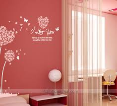 i love you heart sharped flower and erfly wall decals