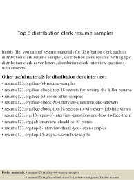 Top 40 Distribution Clerk Resume Samples Beauteous Resume Distribution