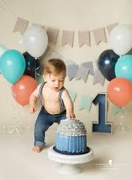Blue Orange Teal And Grey First Birthday Boy Cakesmash Ivans
