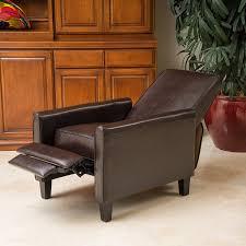 com lucas brown leather modern sleek recliner club chair kitchen dining