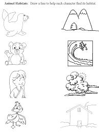 Worksheet that connects animal with habitat   Preschool Animal ...