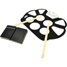 pyle pro ptedrl11 electronic drum kit portable drumming machine roll up design
