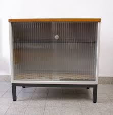 vintage metal cabinet with sliding glass doors from mauser werke waldeck 1960s for at pamono