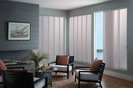 modern and simple window covering for sliding glass door with vertical blinds in living room with