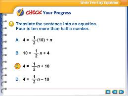 translate the sentence into an equation