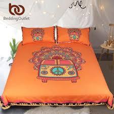 bedding hippie vintage car bedding set orange mandala quilt cover peace design bed set bohemian a mini van bedclothes duvet sateen duvet cover